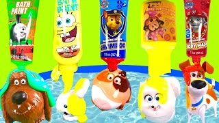 The Secret Life of Pets Bubble Bath with  & Paw Patrol Spongebob Bath Paint!