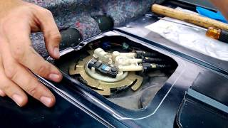 Cutting Fuel Pump Access Panel and Removing Fuel Pump Assembly - 86 Trans AM with 02 Gas Tank