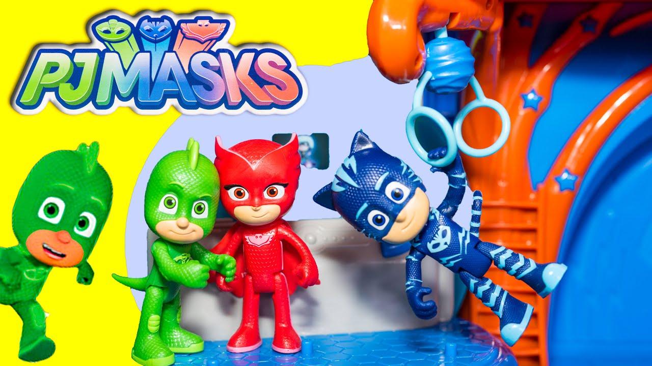 pj masks catboy gekko owelette pj mask headquarters new toys video youtube. Black Bedroom Furniture Sets. Home Design Ideas