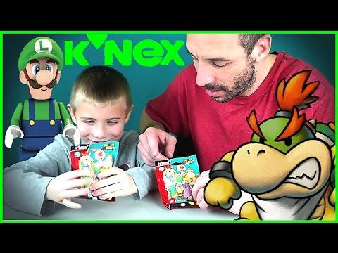 K'NEX SUPER MARIO Series 8 Blind Bag Kids Toy Surprise Opening -  Bowser / Yoshi / Luigi / Peach