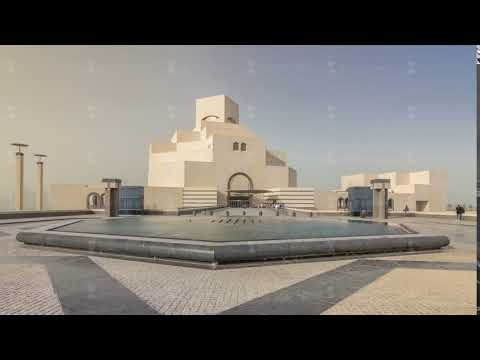 Qatar's museum of Islamic Art timelapse hyperlapse on its man-made island beside Doha Corniche