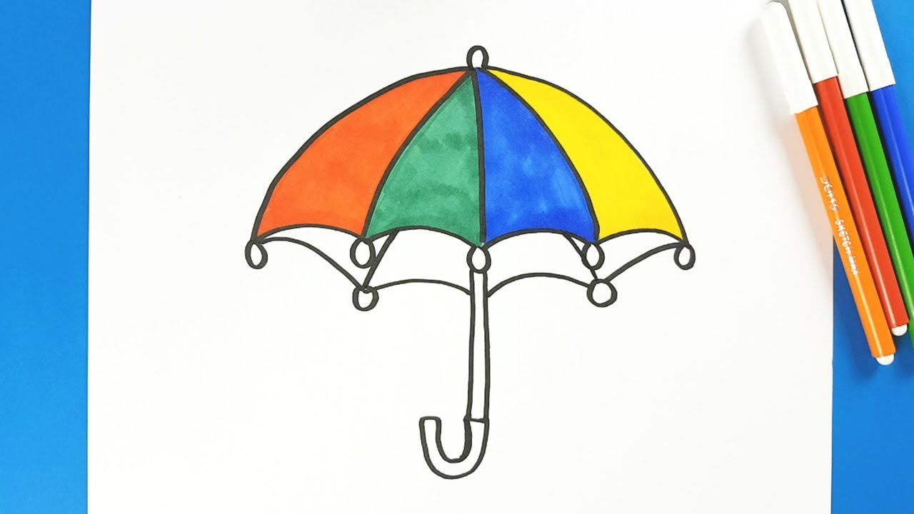 Drawing Umbrella For Kids And Color Learning Page Easy Step By Step How To Draw An Umbrella Youtube