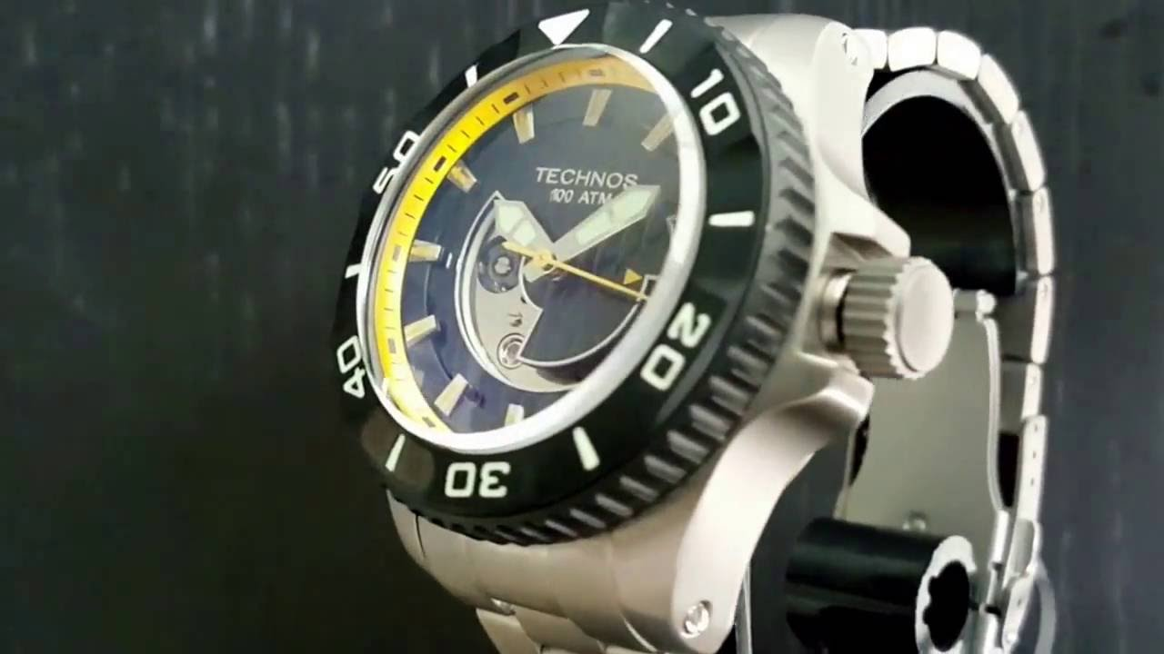 Rel gio technos performance acqua 8215ah 5y autom tico 1000m youtube for Technos watches