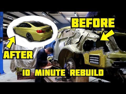 Rebuilding A Wrecked 2016 BMW M4 In 10 Mins Like THROTl