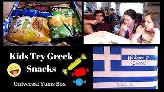 American Kids Try Greek Snacks | Universal Yums Unboxing