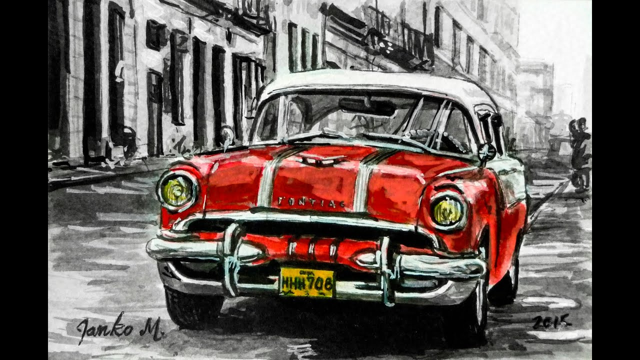 Old Car Cuba Drawing With Pen And Ink Time Lapse Youtube