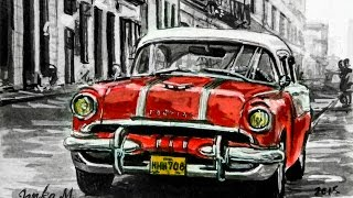Old car- Cuba drawing with pen and ink - Time lapse