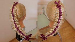Пятипрядная двойная коса + 2 ленты. Видео-урок.