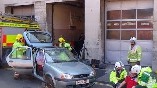 HWFR & WMAS CFR - Road Traffic Collision demo outside Worcester Fire Station