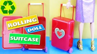 How to Make Doll Rolling Luggage / Suitcase - Really Moves, Opens and Closes - simplekidscrafts