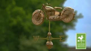 Gd669p Motorcycle Weathervane Polished Copper