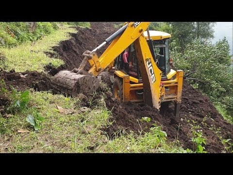 JCB Backhoe Loader-Skillful Operator-Making Hilly Narrow Road