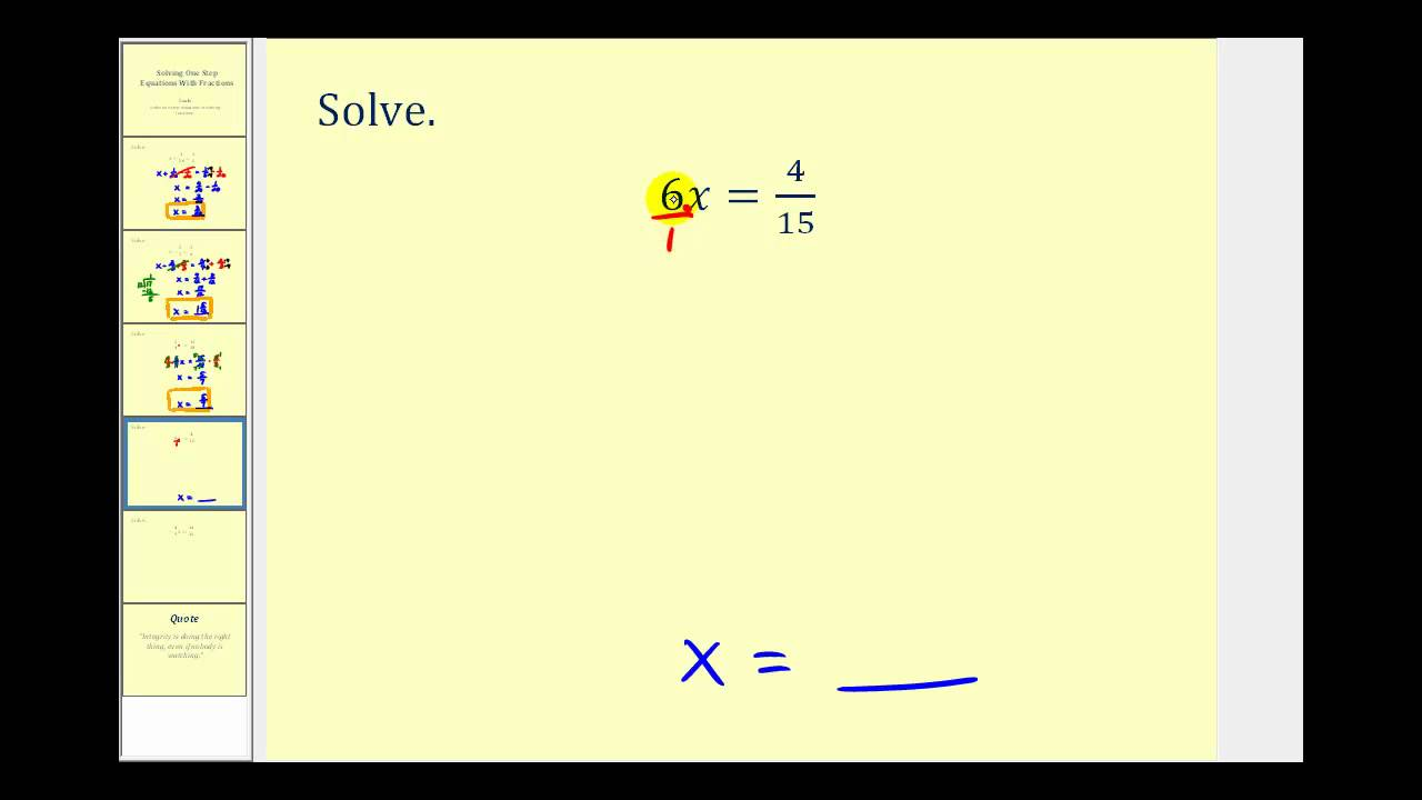 hight resolution of Solve One Step Equations with Fractions - YouTube