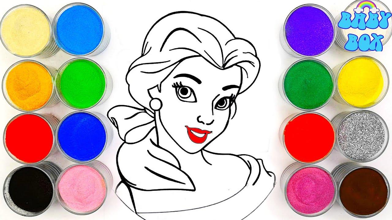 Раскраска принцесса Бэлль.Рисование песком. BabyBox art ...