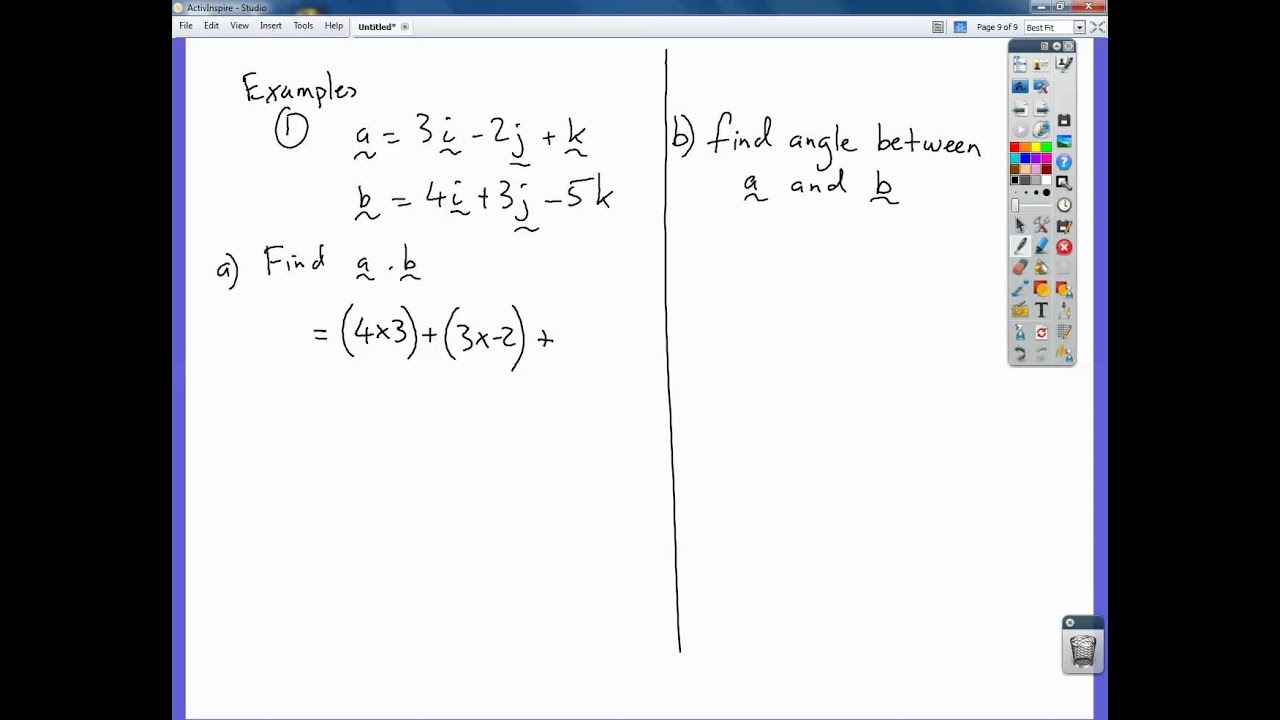 Scalar Product Of Two Vectors Youtube