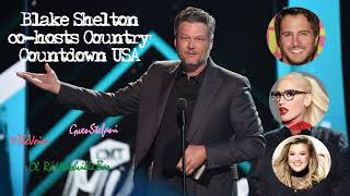 blake shelton co hosts country countdown usa talks bout gwen stefani new bar the voice more