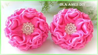 Канзаши/Цветы из лент/Ribbon Flowers Tutorial/Flores de fita/Ola ameS DIY