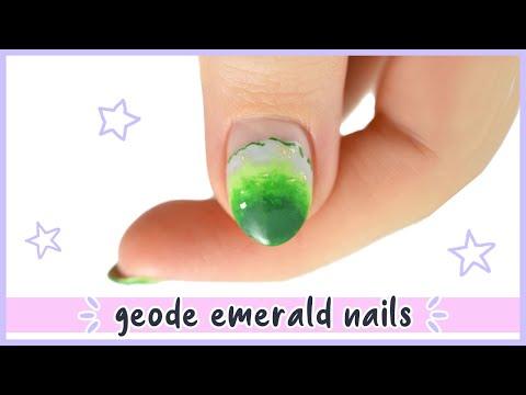 New Nail Art 2020 ♡ Realistic Emerald Geode Nail Design! - YouTube