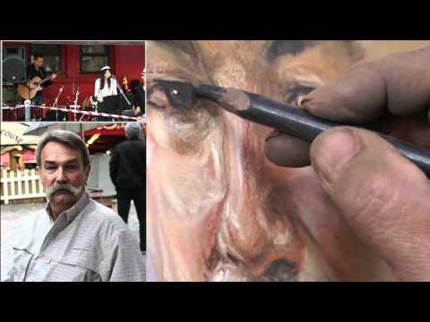 A pastel portrait demo pt.2 by Svay Teng denis during Paris music festival