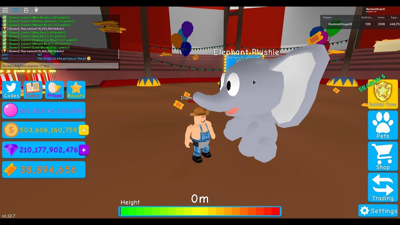 Max Leveling Elephant Plushie Roblox Bubble Gum Simulator