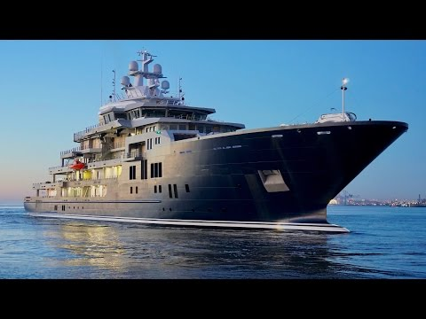 4K | Mega Explorer Yacht U116 arrived Bremerhaven from Kleven Shipyard
