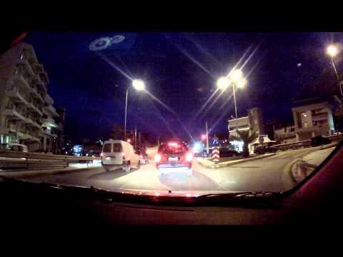 Patras by night (Venizelou, Korinthou and Panepistimiou streets, Patras, Greece) - onboard camera