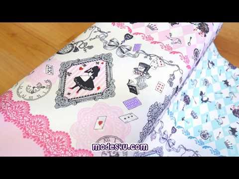 Alice in Wonderland fairy tale oxford fabric by Kokka