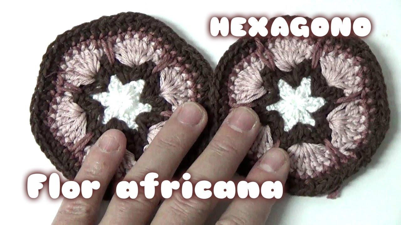 FLOR AFRICANA EN HEXAGONO EN GANCHILLO//AFRICAN flower in crochet ...
