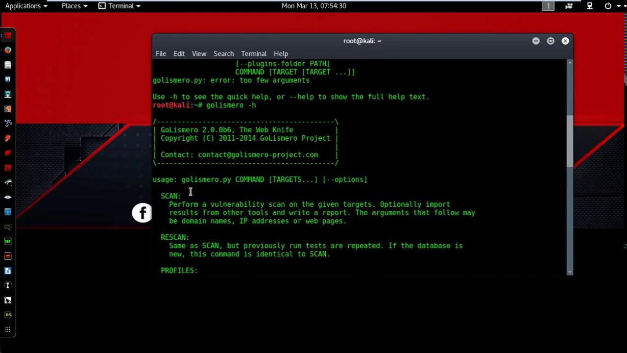 Golismero How to scan website on Kali Linux 2016 2