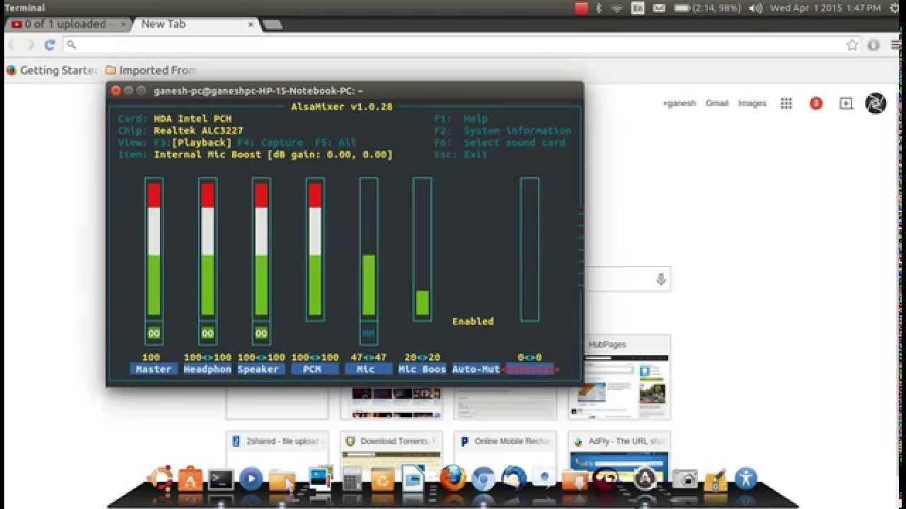 fixing low volume problem of Ubuntu linux (HD)