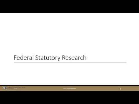 Federal Statutory Research