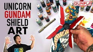 Freehand Unicorn Gundam Shield ART Part 2 2021 Vallejo Mecha Colors