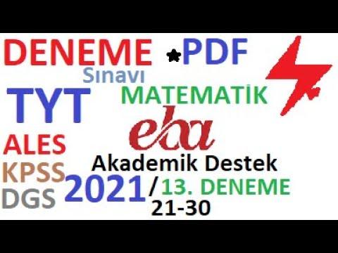 2021 EBA TYT 13. DENEME BİYOLOJİ ÇÖZÜMLERİ