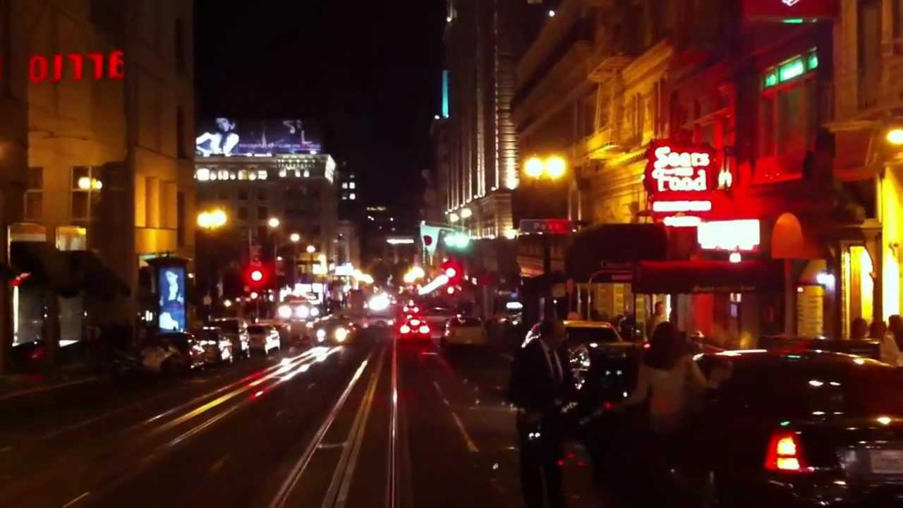 Powell and Market Street Car Ride at Night in San ...
