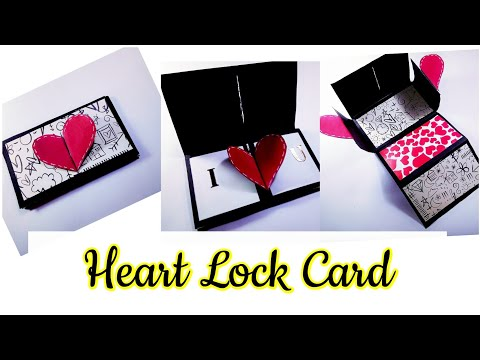 How to make Heart Lock Accordian Card for Valentines Day.
