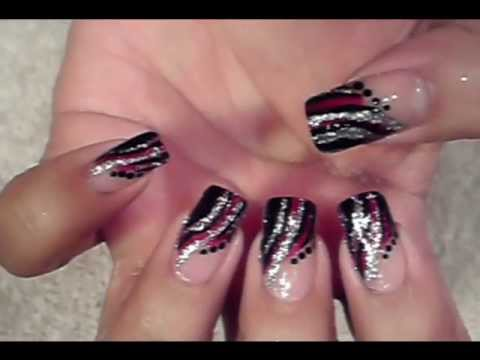 Easy Quick Nail Art Design Red Black Silver Design Youtube