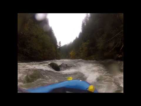 Rafting the Wind River.  Columbia Gorge, Washington.   Oct 2012.  Initiation Rapid-Rams Horn.
