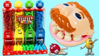 LEARN COLORS & Counting Feeding Play Doh Dentist Dr Drill N Fill M&Ms Candy Dispenser!