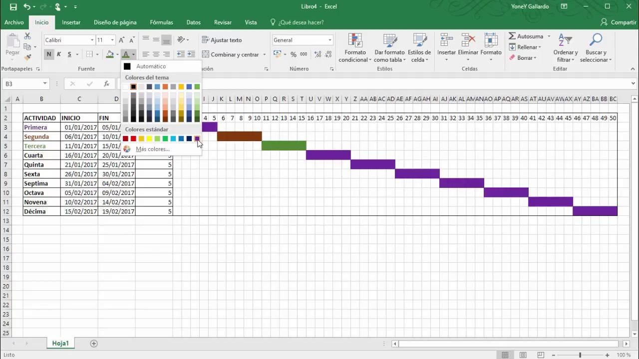 Cómo hacer un Diagrama de Gantt en Excel  YouTube