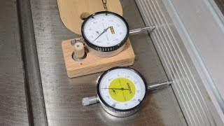 Table saw micro adjusting with a dial indicator