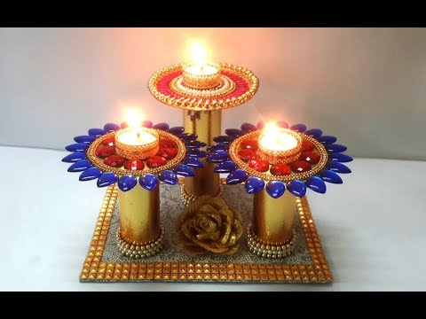 DIY Diwali Candle Holder Making from Old CD | Best Out Of Waste Diwali Diya Stand