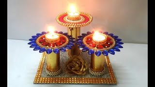 Diwali Diya Stand Making from Old CDs | DIY Diwali Decor at home | Christmas Candle Holder Making