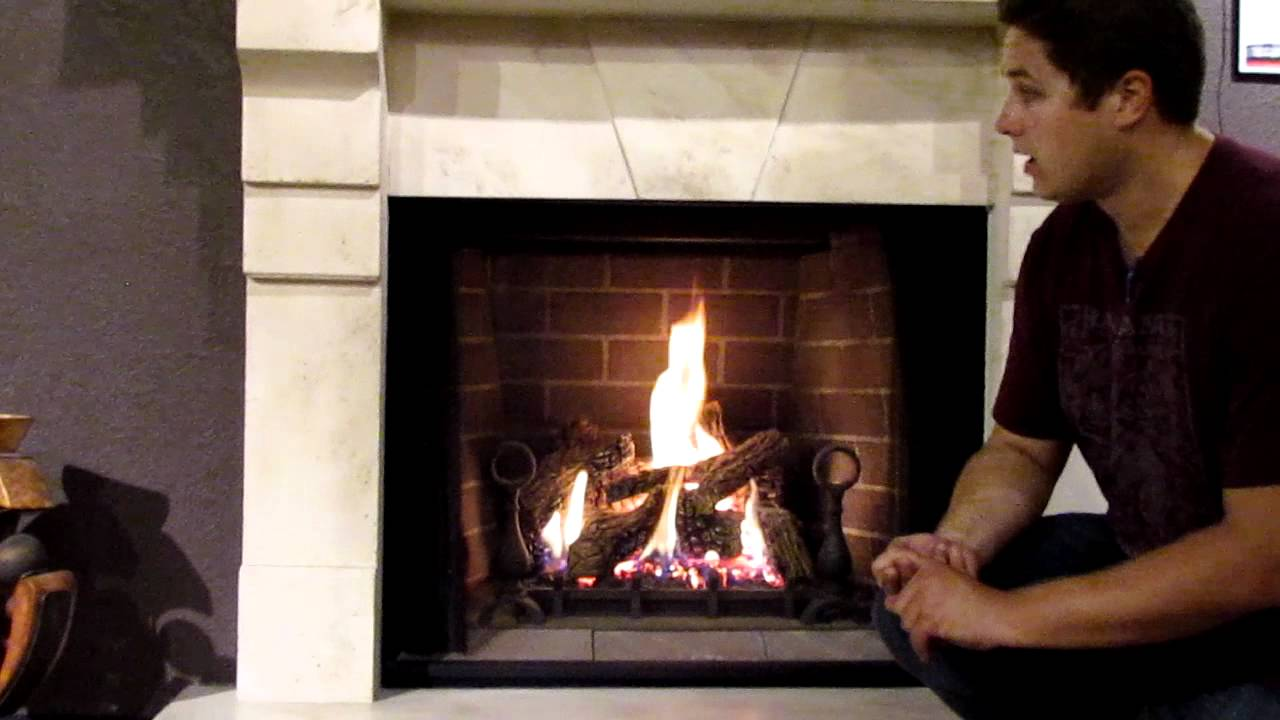 GD80 Napoleon Madison Gas Fireplace Log Set Burn Video Product Review  YouTube