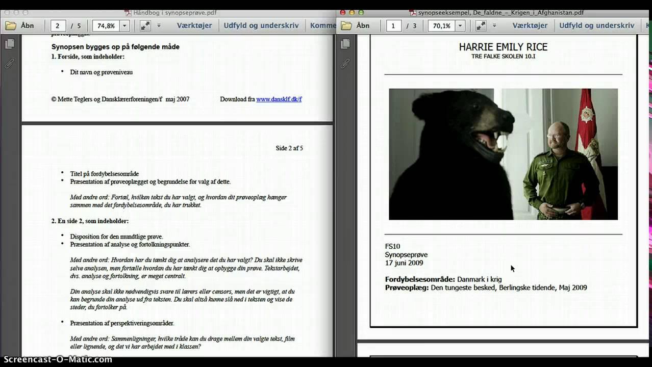 Synopsis FS10 mundtlig dansk