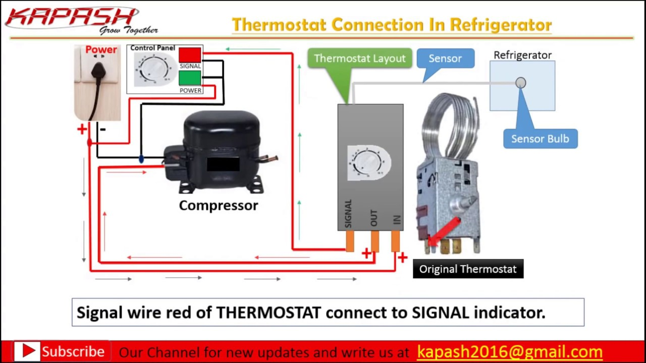 thermostat wiring connection in hindi part 2 youtube double door refrigerator thermostat wiring diagram refrigerator thermostats wiring diagram [ 1280 x 720 Pixel ]