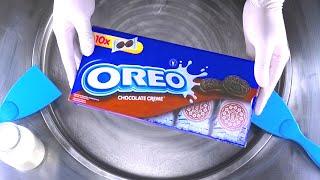 ice cream rolls chocolate creme oreo cookies rolled fried ice cream roll satisfying asmr food