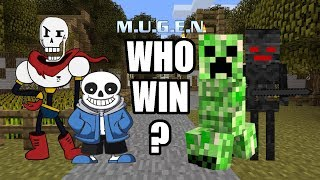 【LINGLE】Sans and Papyrus VS Creeper & Wither Skeleton [Undertale X Minecraft]【MUGEN BATTLE】