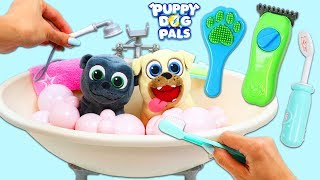 Disney Jr Puppy Dog Pals Bingo and Rolly Go to Groomers for Bath Time Before School!