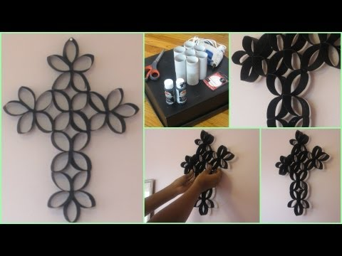 DIY Room Decoration: Cross Wall Art (Using Toilet Paper Rolls!)