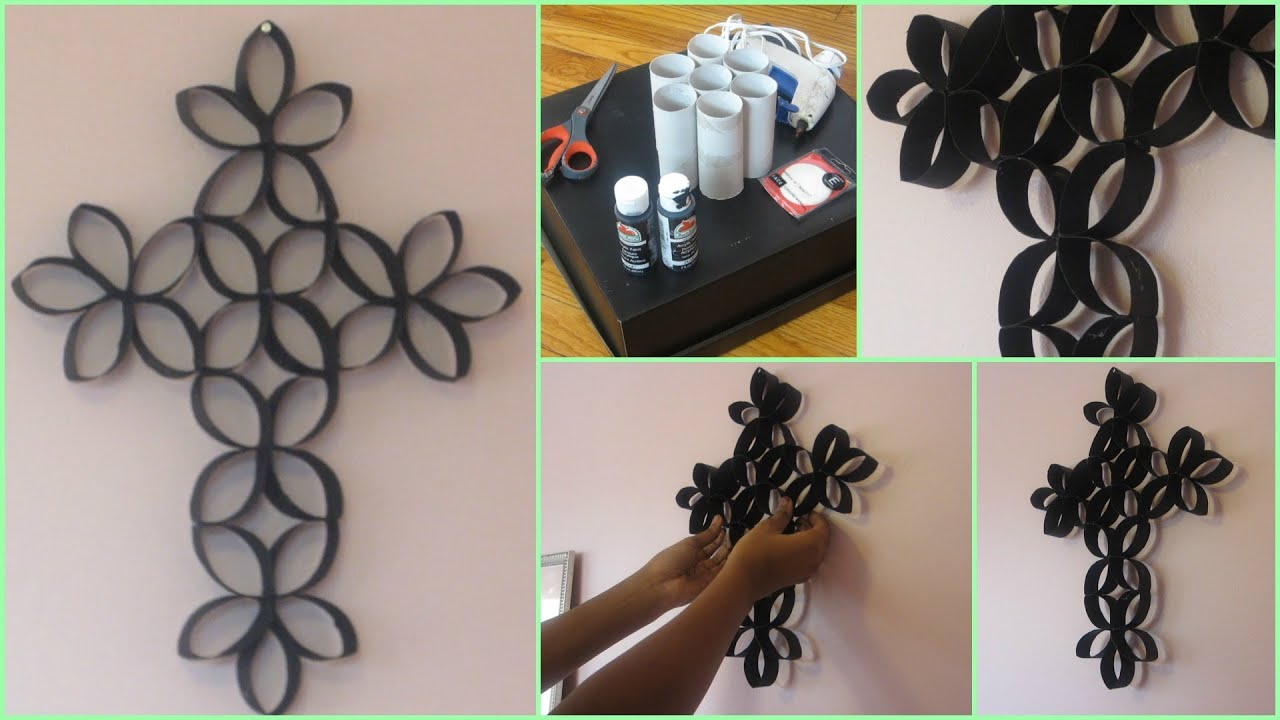 Diy room decoration cross wall art using toilet paper for Art and craft for wall decoration
